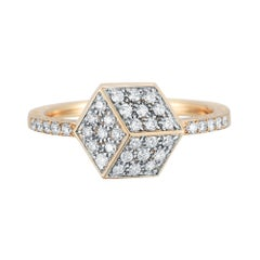 18 Karat Rose Gold Brillante Stackable Ring with Diamonds