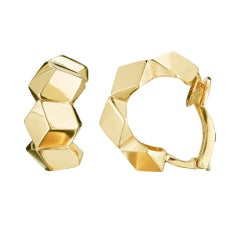 18 Karat Yellow Gold Brillante Huggie Earrings