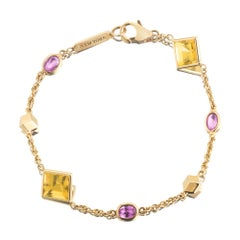 18 Karat Yellow Gold Florentine Bracelet with Citrine and Pink Sapphires
