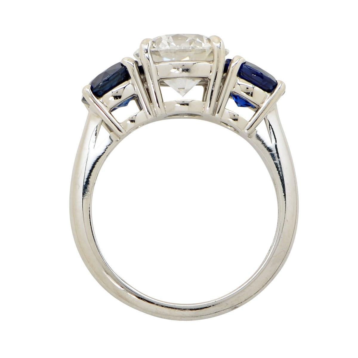 2 35 Carat E VS1 GIA Tiffany and Co Sapphire Diamond Platinum Ring at 1stdibs