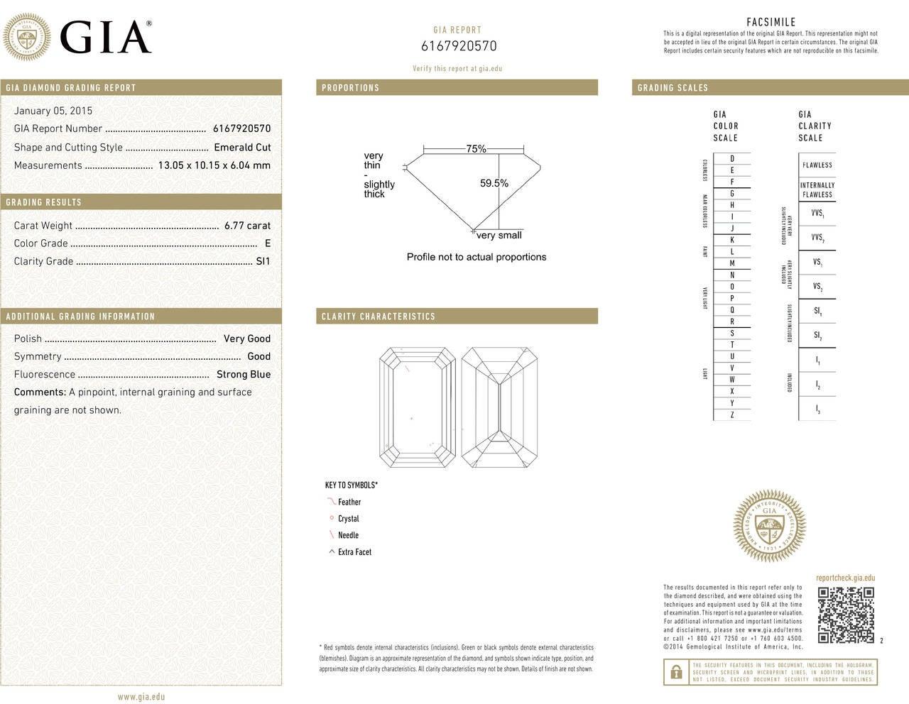 Harry Winston 6.77 Carat  Emerald Cut Diamond Platinum Ring 3