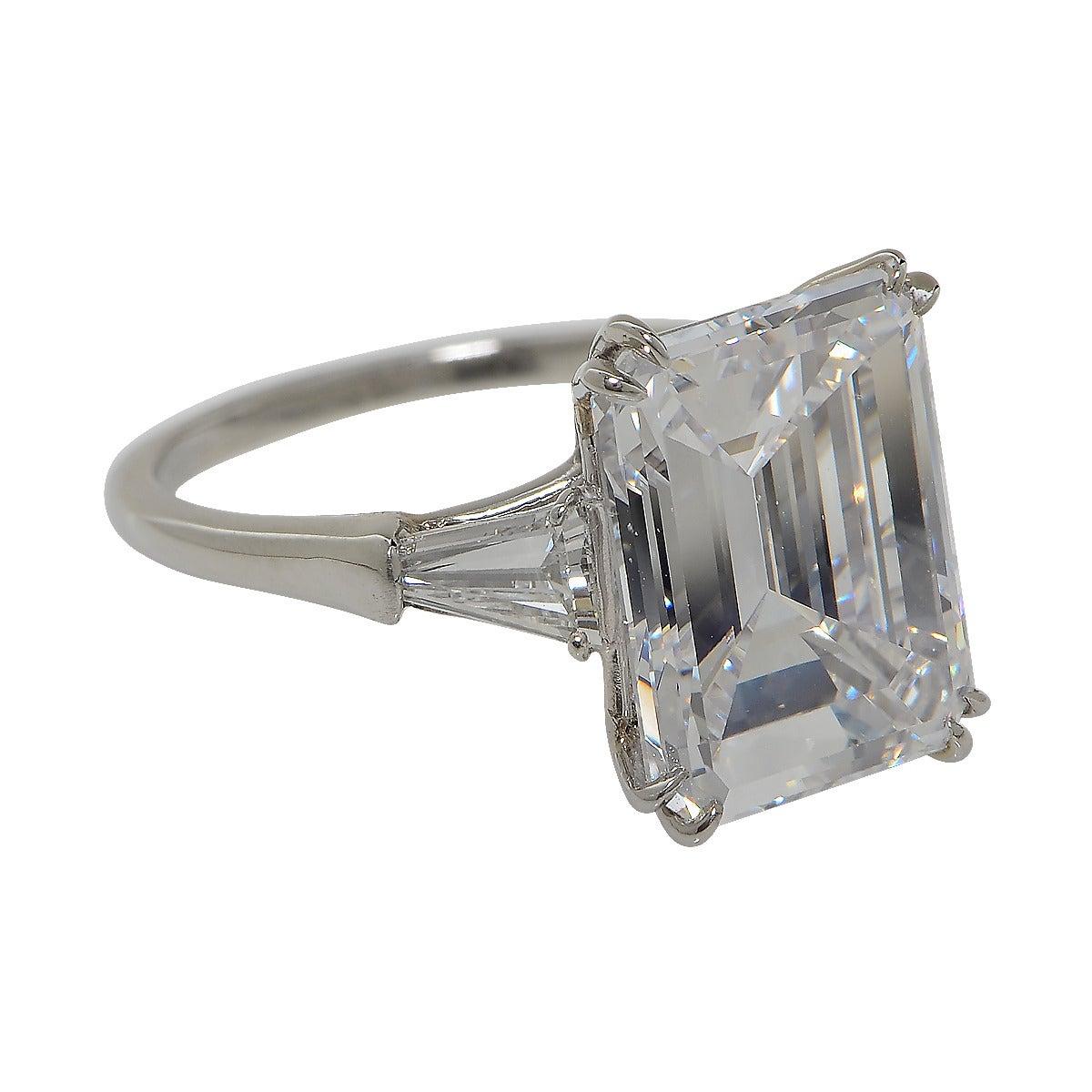 Harry Winston 6 77 Carat Emerald Cut Diamond Platinum Ring at 1stdibs