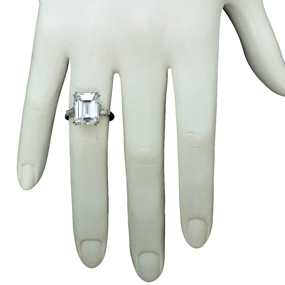 Harry Winston 6.77 Carat  Emerald Cut Diamond Platinum Ring 2