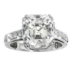 6.32 Carat GIA Cert Asscher Cut Diamond Platinum Ring