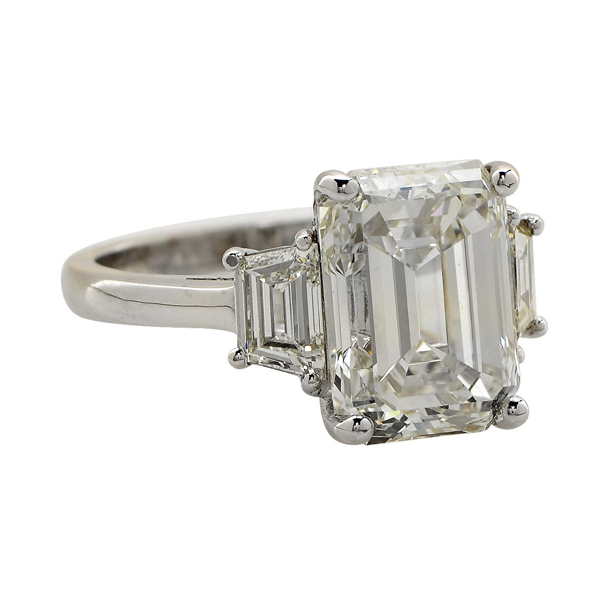5 93 Carat Emerald Cut Diamond Gold Engagement Ring at 1stdibs