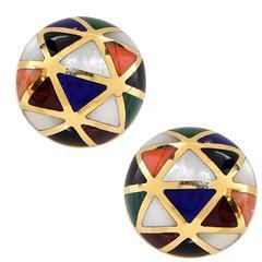 Asch Grossbardt Inlaid Gold Earrings