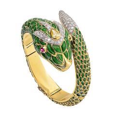 Enamel Diamond Gold Platinum Snake Bracelet