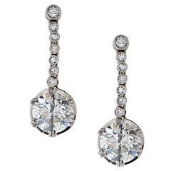 Art Deco 4 Carats Diamonds Platinum Earrings