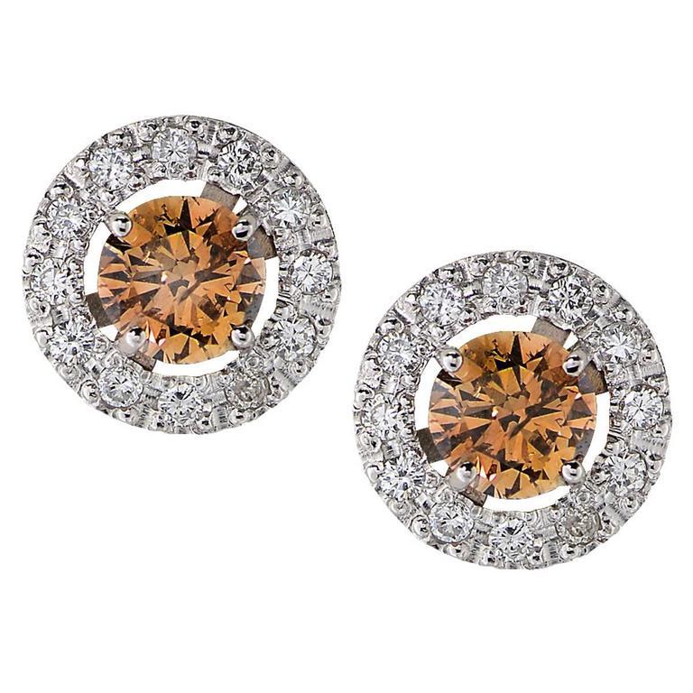 Diamond Platinum Earrings For Sale