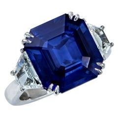 8.24 Carat Natural Deep Blue Step Cut Sapphire Diamond Platinum Ring