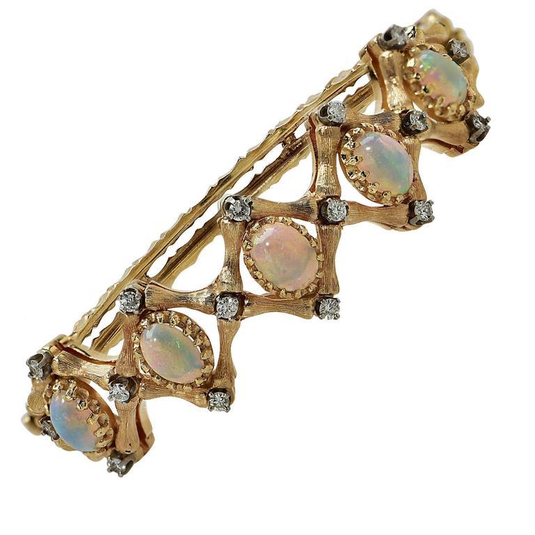 Opal Diamond Gold Cuff Bracelet