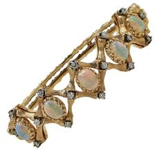 Opal Diamond Gold Cuff Bracelet