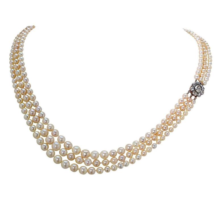 7 Strand Pearl Necklace with Diamond Gold Clasp