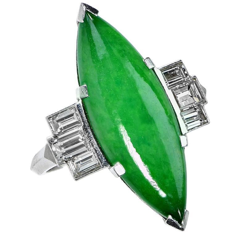 Circa 1950s GIA Graded Natural Jadeite Jade Diamond Platinum Ring