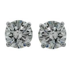 2.42 Carat Diamond Gold Solitaire Stud Earrings
