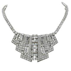 Important Art Deco Diamond Double Clip Combination Necklace
