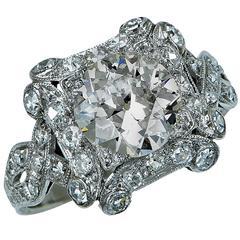 1.85 Carat Diamond Platinum Ring