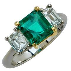 2.13 Carat Emerald and 1.05 Carat Diamond Three Stone Ring