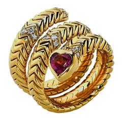 Bulgari Diamond Tourmaline Gold Spiga Snake Ring