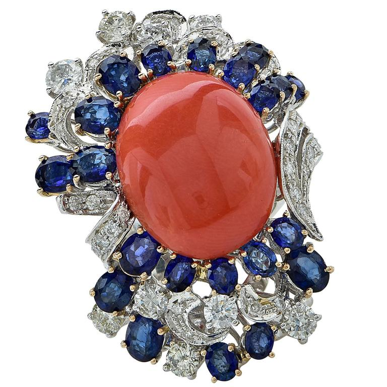 Coral Sapphire Diamond Gold Ring