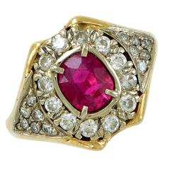 1 Carat Burma Ruby and Diamond Ring