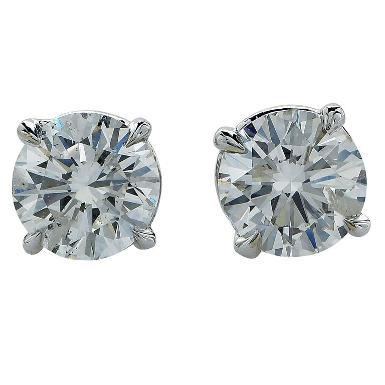1.87 Carat Diamond Solitaire Stud Earrings