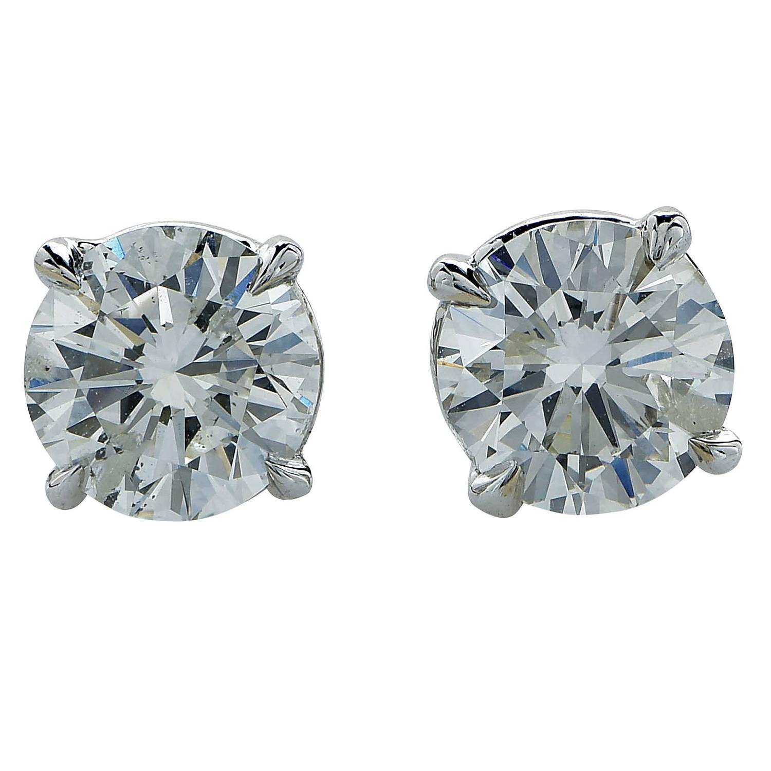 1 carat stud earrings sale 1 87 carat solitaire stud earrings for sale at 1stdibs 9098