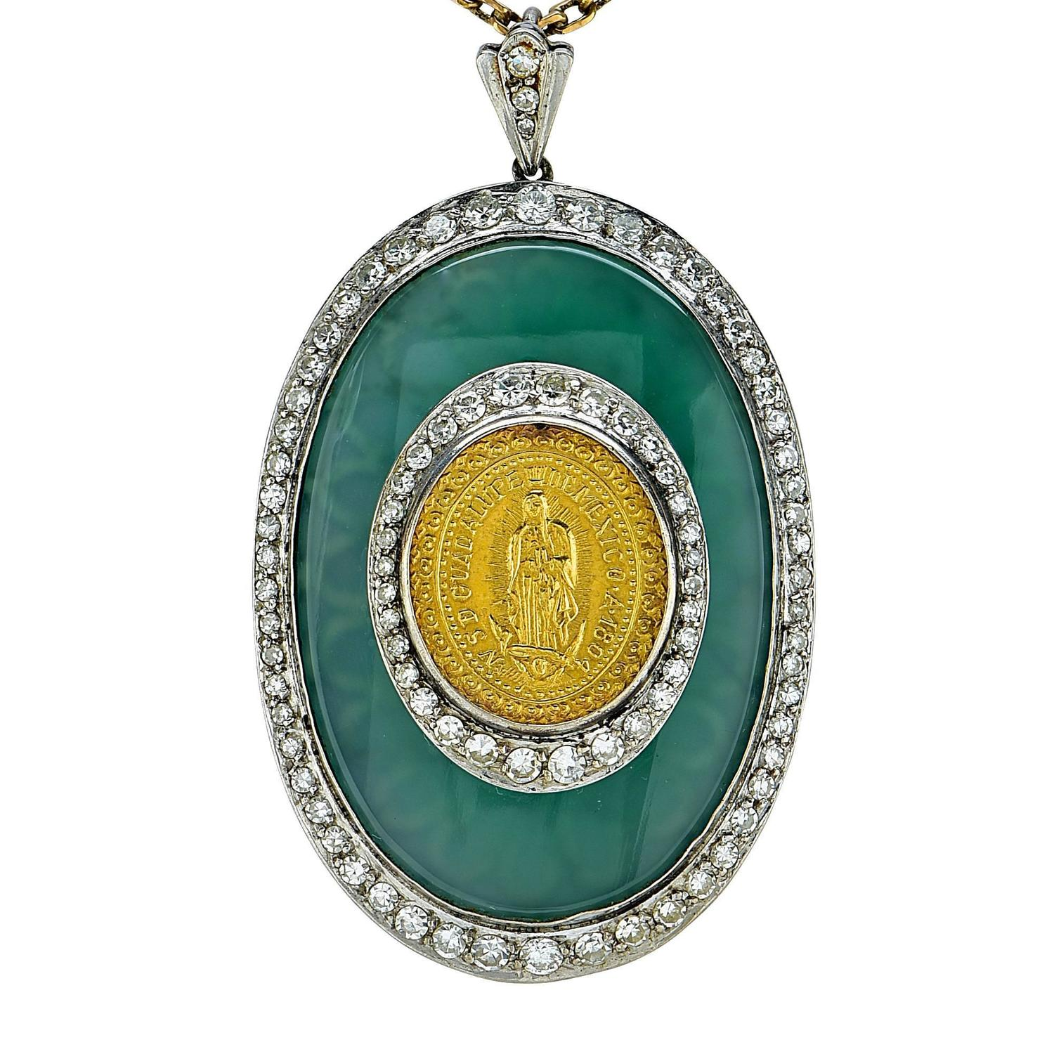 1 20 carats diamonds two color gold coin necklace for sale