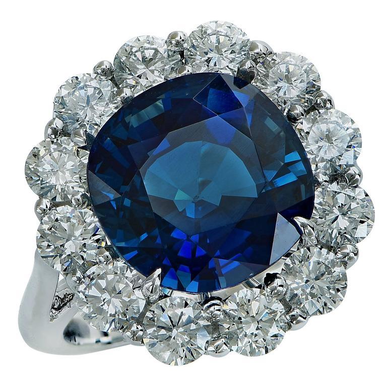 10.32 Carat Unheated Sapphire Diamond Platinum Ring