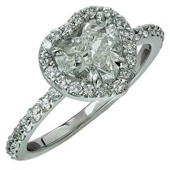 1.50 Carat GIA Graded Heart Shaped Diamond Gold Engagement Ring
