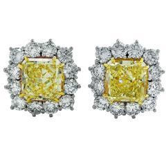 15.37 Carats GIA Cert Yellow Diamonds Gold Platinum Earrings