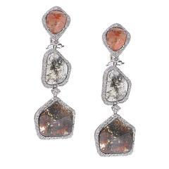 17.46 Carat Rough Diamond Gold Earrings