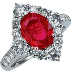 2.47 Carat Burma Ruby Diamond Platinum Ring