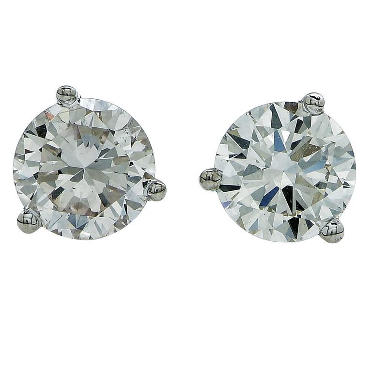 1.20 Carats Diamonds Gold Stud Earrings 1