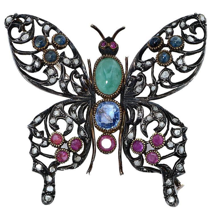 Ruby Sapphire Silver Butterfly Brooch For Sale