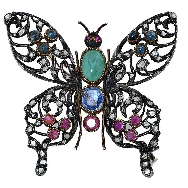 Ruby Sapphire Silver Butterfly Brooch 1