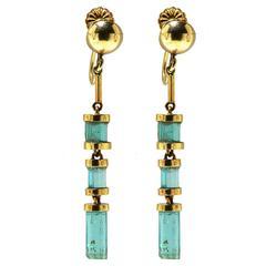 3 Carat Emerald Gold Earrings