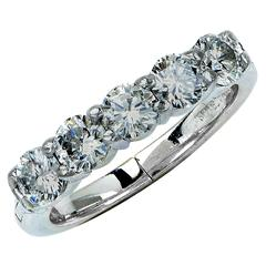 1.25 Carats Diamonds Platinum Band Ring