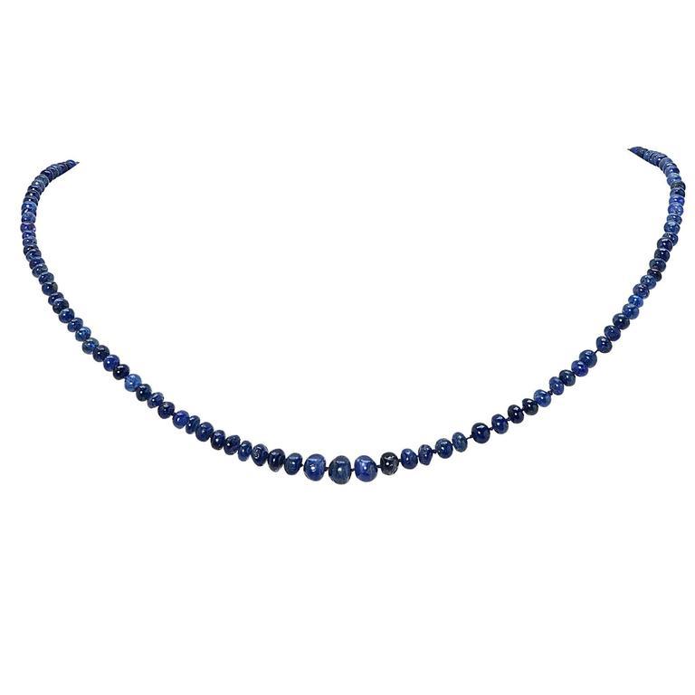Blue Sapphire Bead Necklace