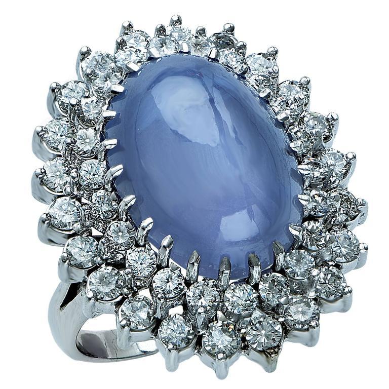 Star Sapphire Diamond Gold Ring 1