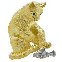 Tiffany & Co. Emerald Diamond Gold Cat Brooch