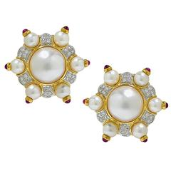 Mabe and Akoya Pearl Ruby Diamond Gold Earrings