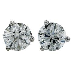 1.13 Carat Diamond Gold Stud Earrings