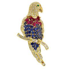 Sapphire Ruby Emerald Diamond Gold Bird Brooch