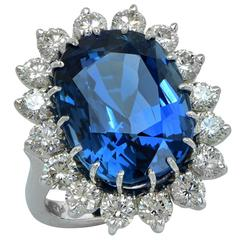 Important 20.42 Carat AGL Graded Unheated Burma Sapphire Diamond Ring