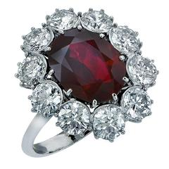 5.52 Carat Ruby Diamond Cluster Ring