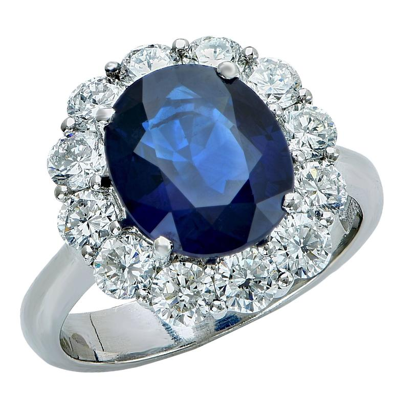 Elegant AGL Graded Sapphire and Diamond Engagement Ring