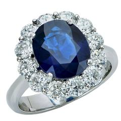 Elegant AGL Graded Sapphire and Diamond Engagement Ring