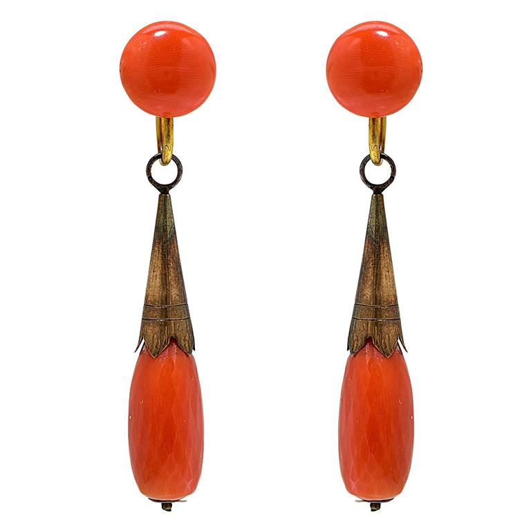 Vintage Coral Dangle Earrings For Sale