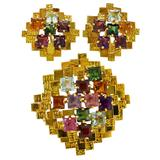 Gold Tourmaline Earrings and Brooch Set
